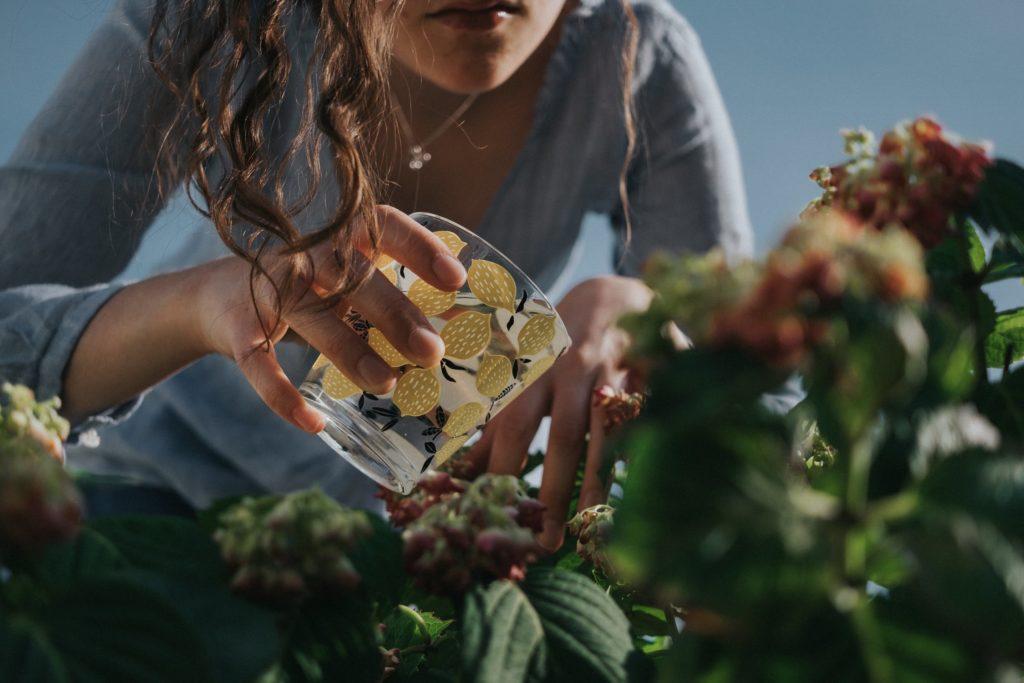 woman watering plants